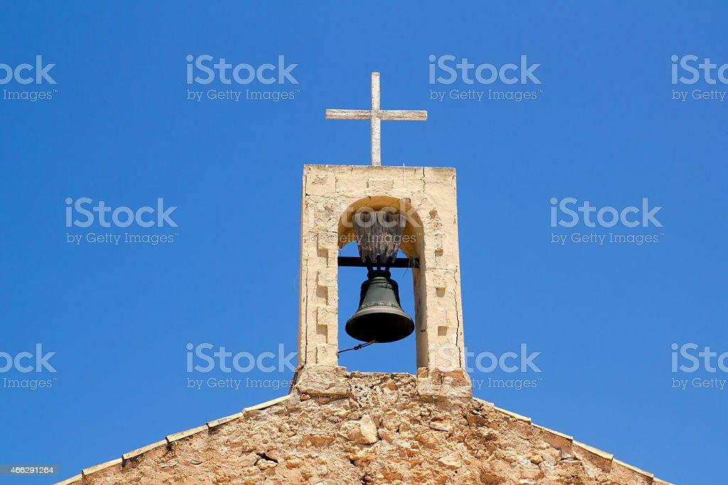 Sant Ferran stone belfry in Formentera island stock photo