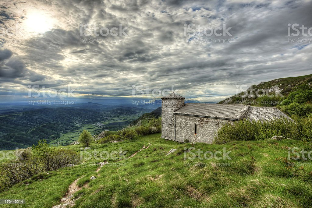 Sant Jerome church on mount Nanos in slovenia, after storm royalty-free stock photo