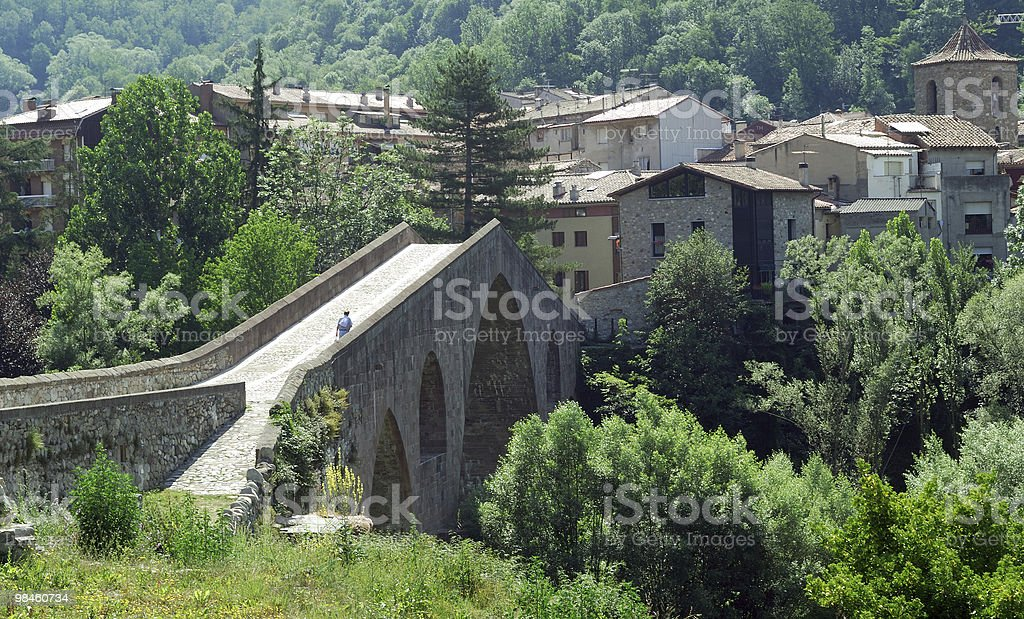 Sant Joan de les Abadesses (Catalonia, Spain): arch bridge royalty-free stock photo