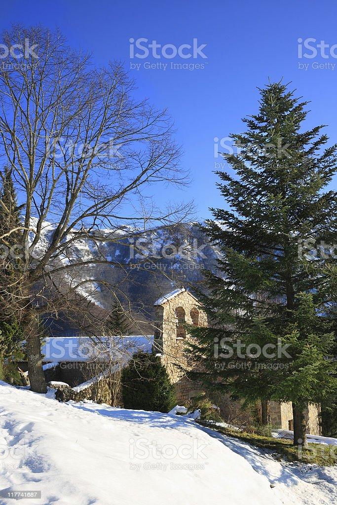 Sant Marçal chapel (Montseny, Catalonia, Spain) stock photo