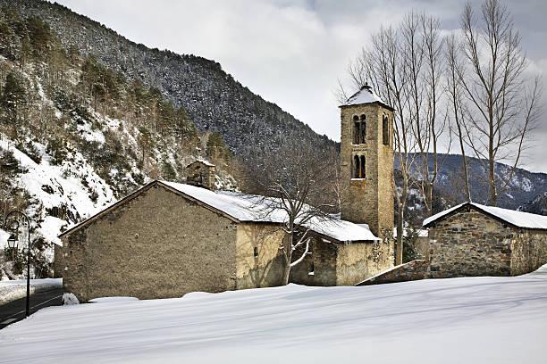 Sant Marti de la Cortinada Romanesque church in la Cortinada. Andorra stock photo