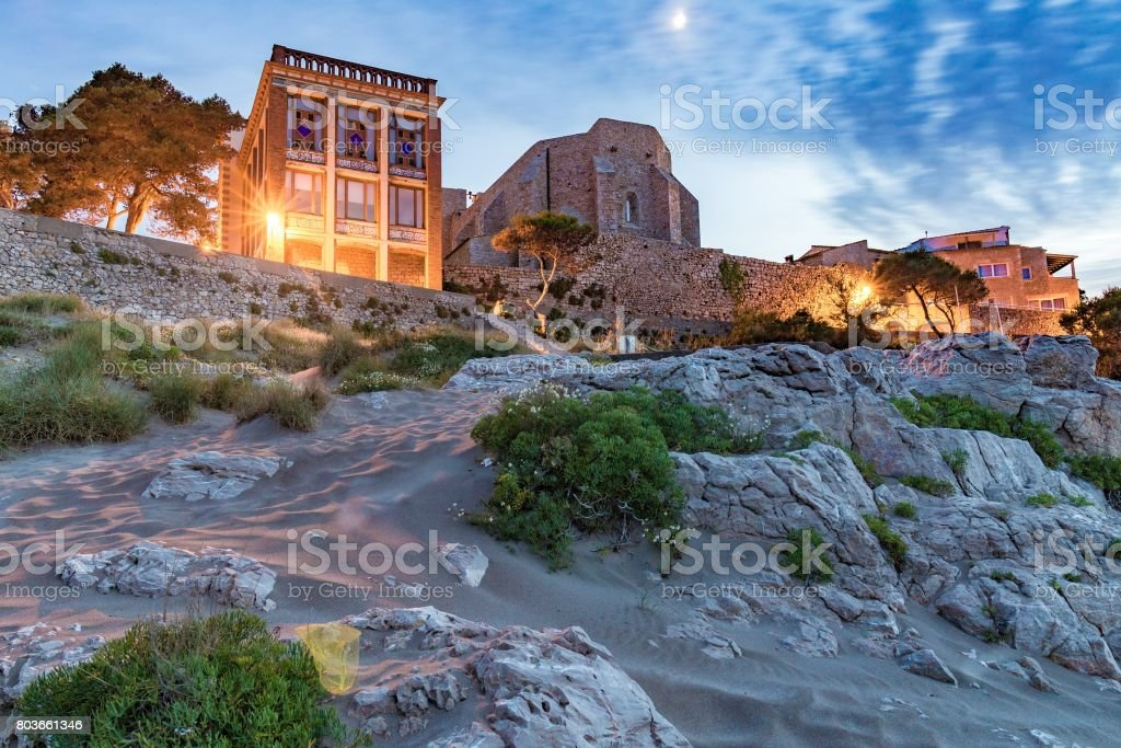 Sant Marti Empuries church from behind stock photo