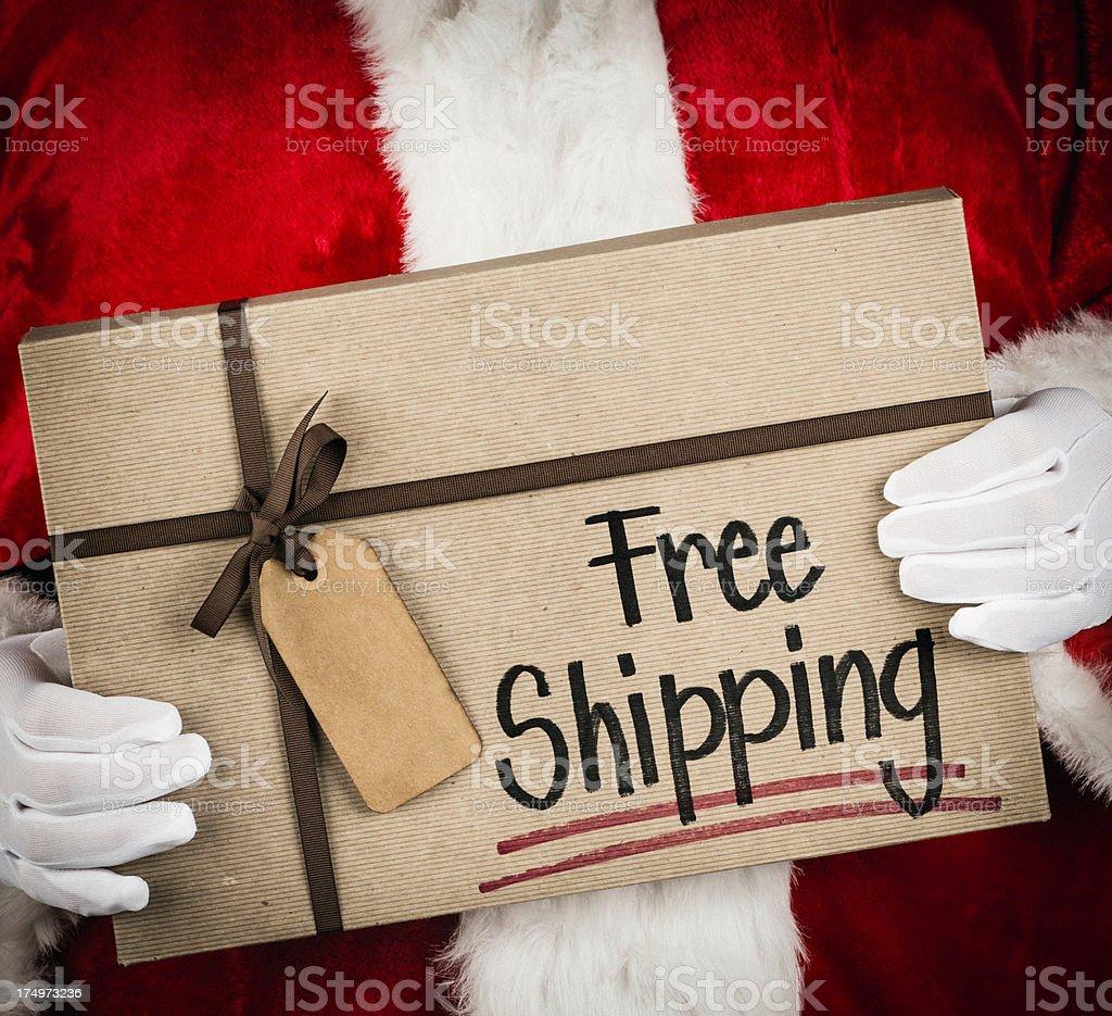 Santa Advertising Free Shipping royalty-free stock photo