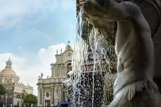Santa Agatha cathedral. Catania, Sicily View across fountain on Santa Agatha cathedral in Catania. Sicily. Italy catania stock pictures, royalty-free photos & images