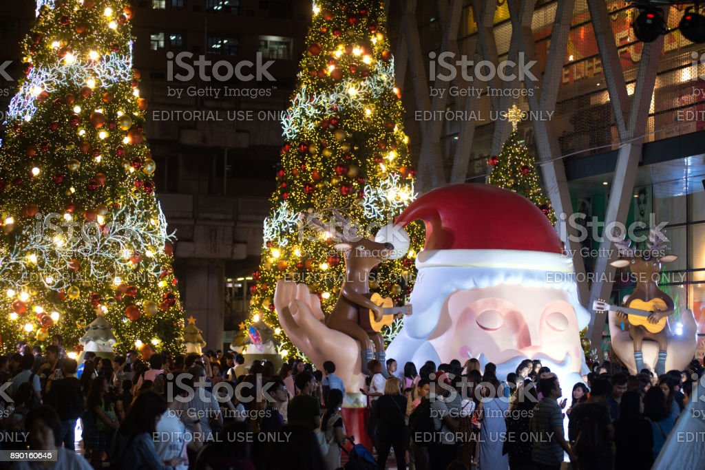 Santa and animal statue and light decorate beautiful on Christmas...