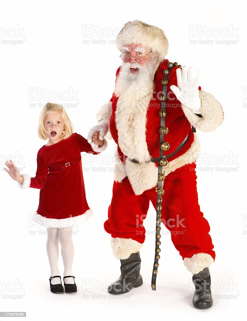 Santa and cute little girl ready to dance royalty-free stock photo