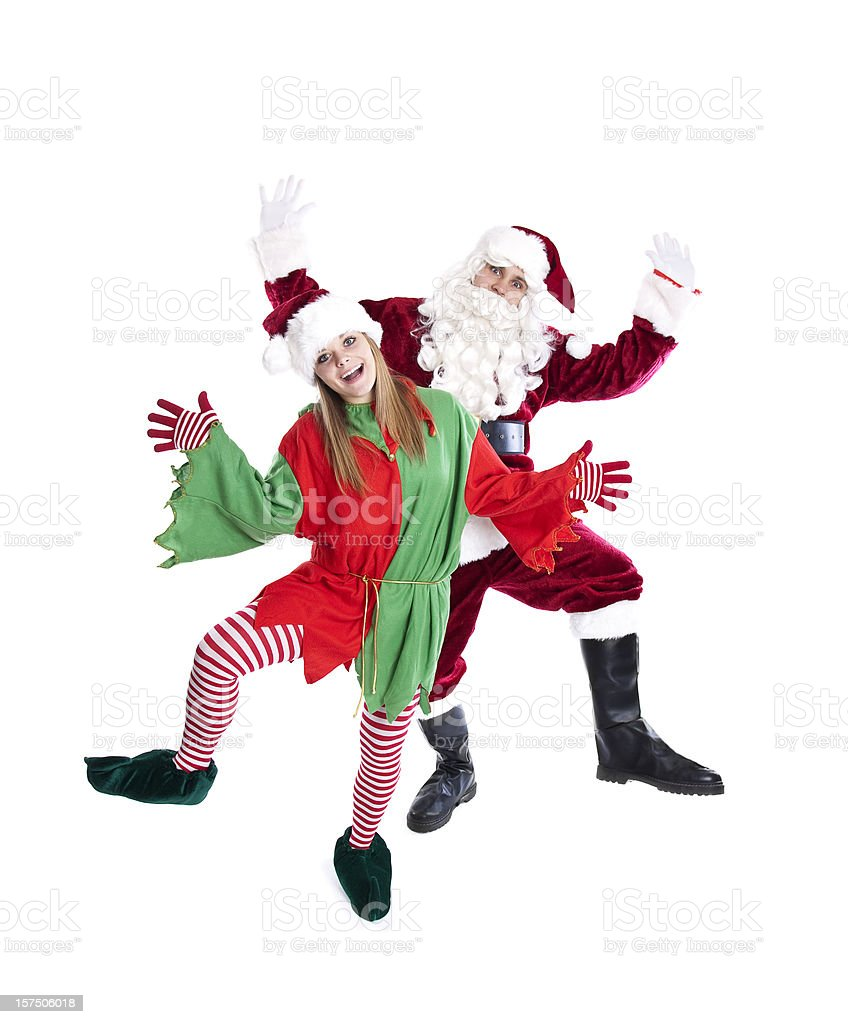 Santa and Elf Dancing (Full Length) stock photo