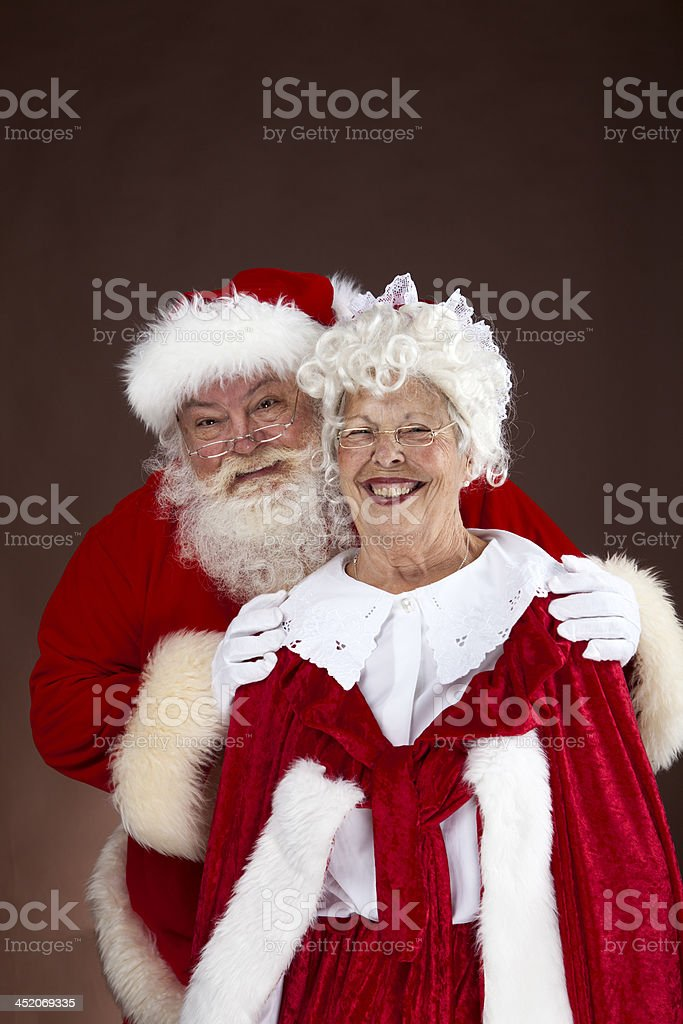 Santa and Mrs Claus portrait stock photo