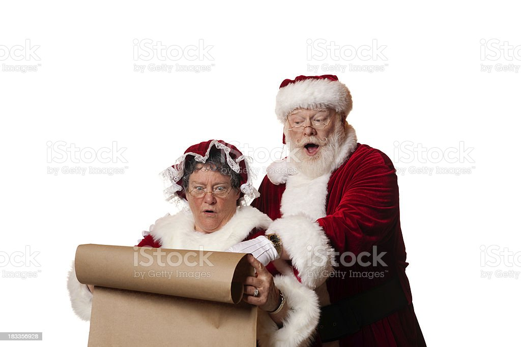 Santa and Mrs. Claus Reading List stock photo