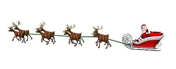 Santa And Reindeer On White
