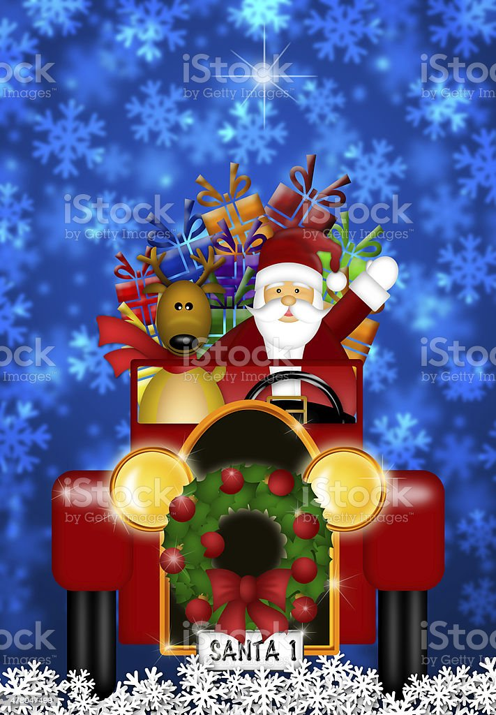 Santa and Reindeer Riding in Vintage Red Car royalty-free stock photo