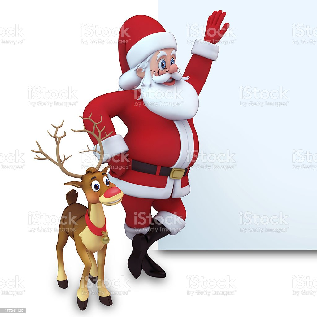 santa and reindeer with white sign stock photo