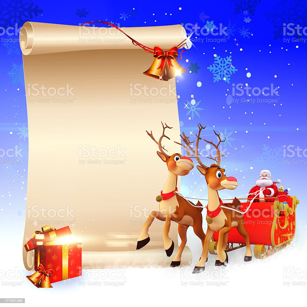 santa and sleigh coming towards white sign stock photo
