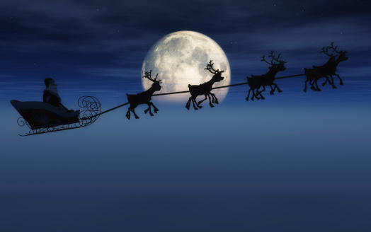 Santa And Sleigh Stock Photo - Download Image Now