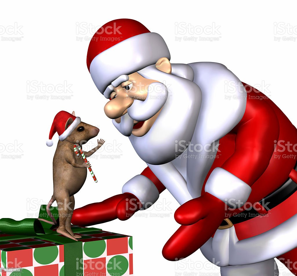 Santa and the Christmas Mouse - with Clipping Path royalty-free stock photo