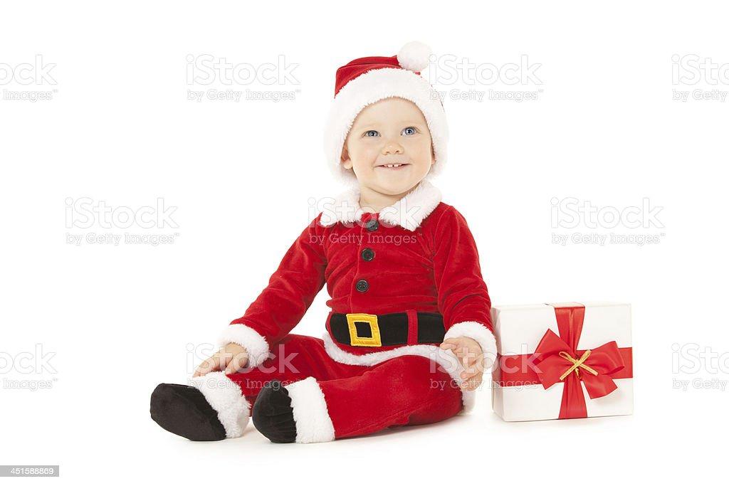 Santa baby mit Geschenk-box, isoliert auf weißem Hintergrund – Foto