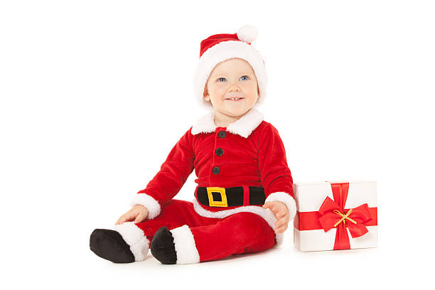 d674f947bf32 Santa baby with gift box isolated on the white background stock photo