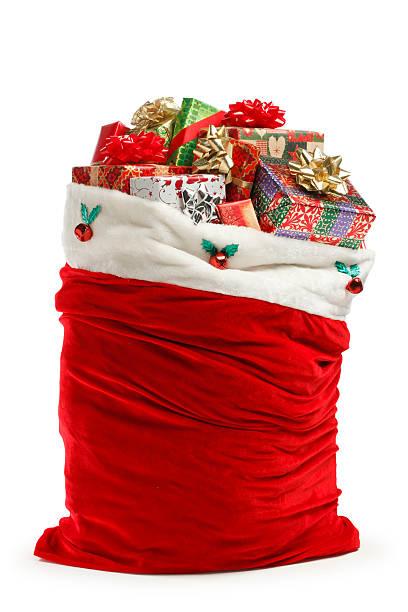 santa bag - zak tas stockfoto's en -beelden