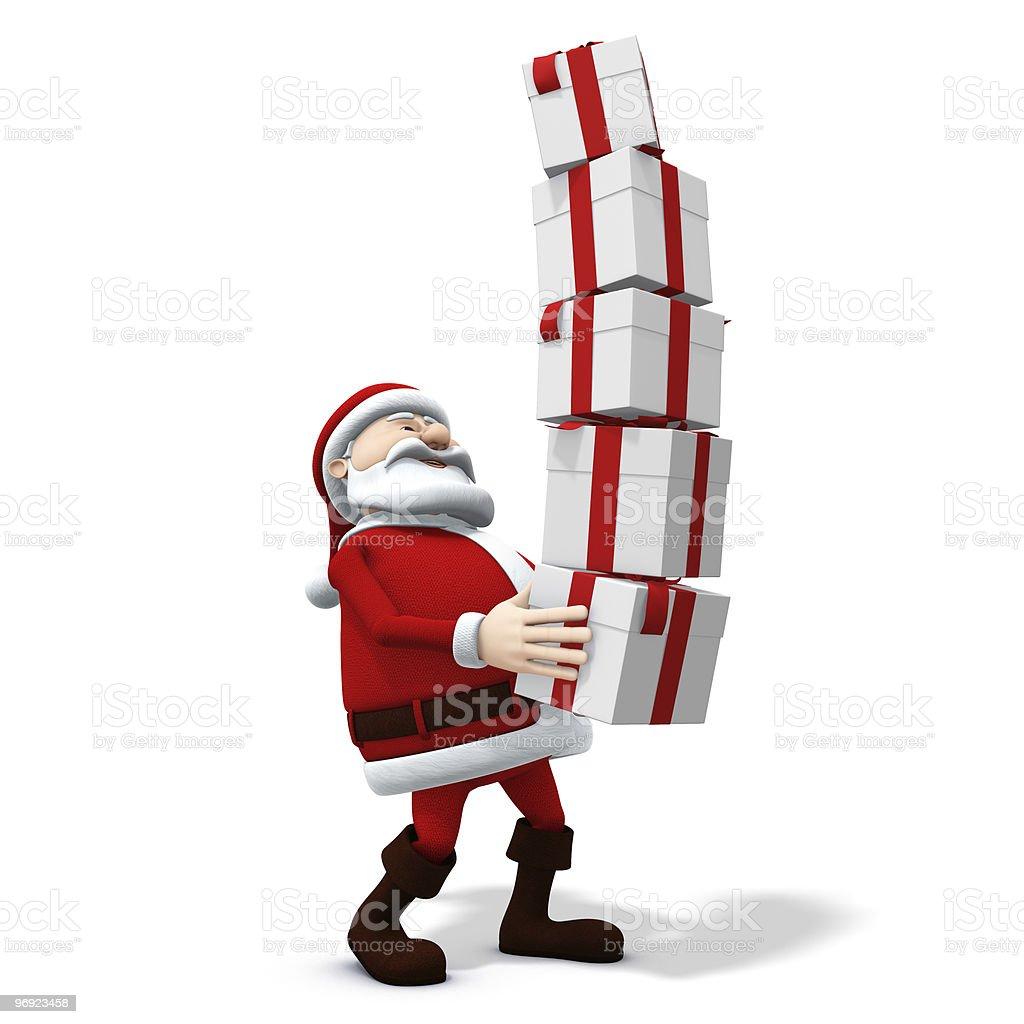 santa balancing presents royalty-free stock photo