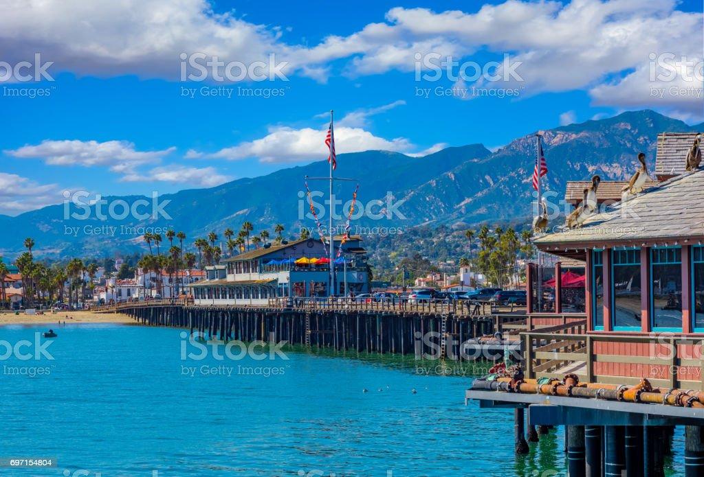 Santa Barabara shoreline and Stearns Wharf, CA Stearns Wharf; Santa Barbara shoreline; Southern California coastline; Summer travel destination Beauty In Nature Stock Photo