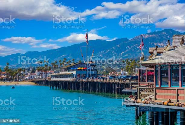 Santa Barabara Shoreline And Stearns Wharf Ca Stock Photo - Download Image Now