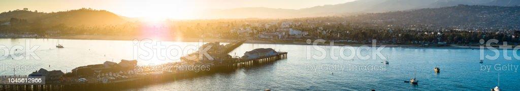 Santa Barbara at Sunset - Aerial Shot stock photo
