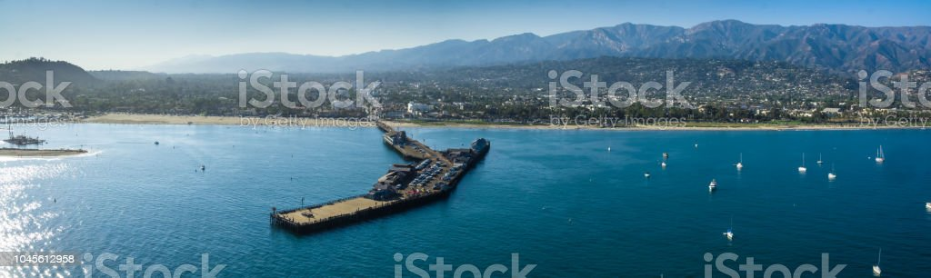 Santa Barbara at Sunset from the Pier to the Mountains stock photo