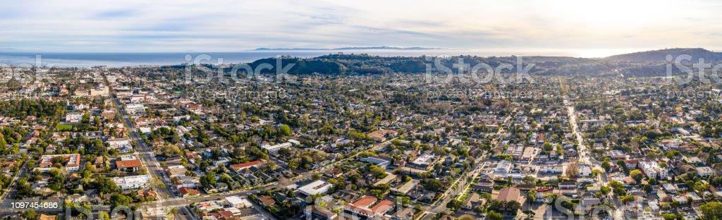Santa Barbara California Drone Shot Urban City Hills and Ocean in Background Santa Barbara California Drone Shot Urban City Hills and Ocean in Background January 2019 Aerial View Stock Photo