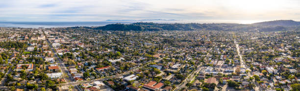 Santa Barbara California Drone Shot Urban City Hills and Ocean in Background Santa Barbara California Drone Shot Urban City Hills and Ocean in Background January 2019 santa barbara california stock pictures, royalty-free photos & images