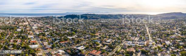Santa Barbara California Drone Shot Urban City Hills And Ocean In Background Stock Photo - Download Image Now