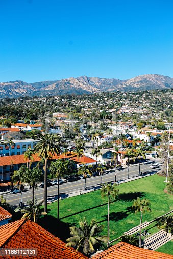 Summertime vibes in Santa Barbara, California. Aerial, high angle view image of streets and buildings of a beautiful coastal town.