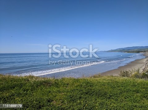 View of grass, ocean, and coast of santa barbara in california. best beach
