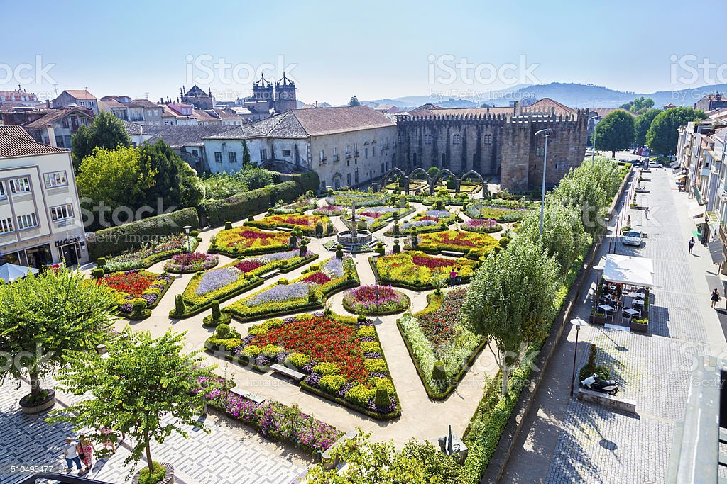 Santa Barbara garden in Braga stock photo