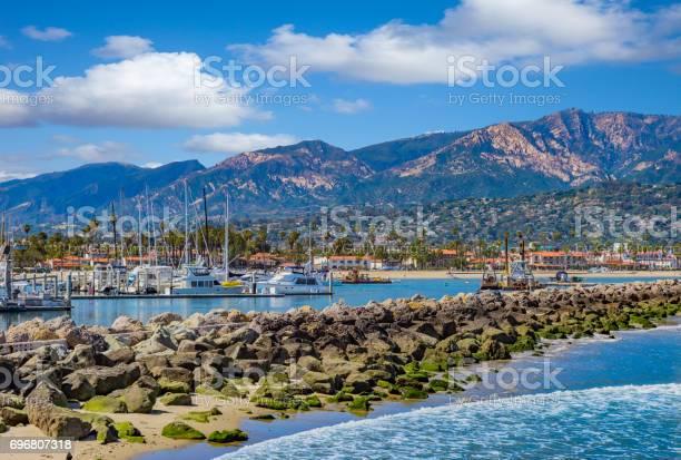Santa Barbara Marina Shoreline Breakwater With Recreational Boats Ca Stock Photo - Download Image Now
