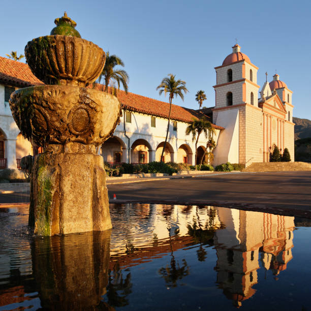 Santa Barbara Mission and Fountain at Sunrise  santa barbara california stock pictures, royalty-free photos & images