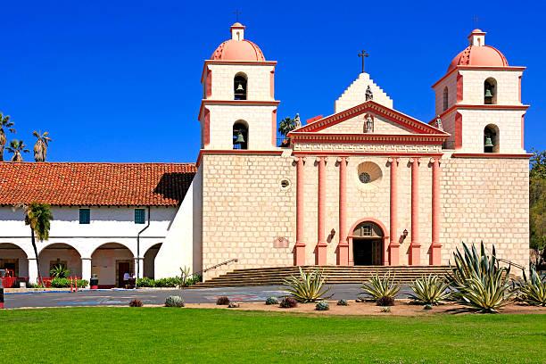 Santa Barbara Mission on Laguna Street in California stock photo