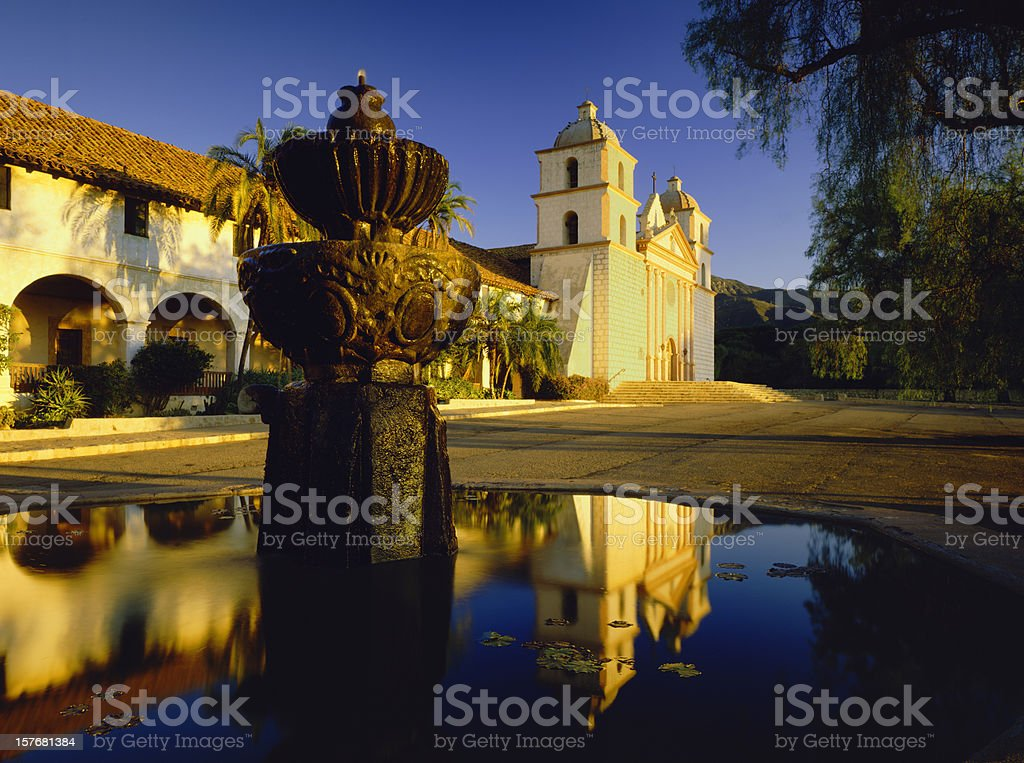 Santa Barbara Mission Fountain With Reflection Of Santa Barbara Mission Architecture Stock Photo
