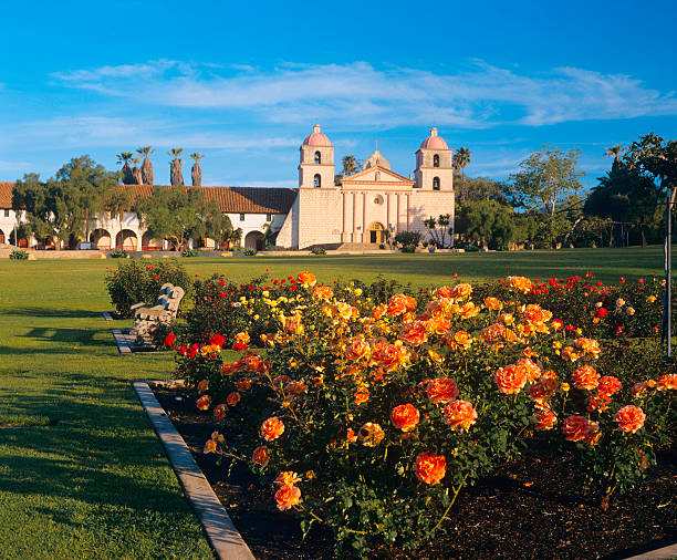 Santa Barbara Mission A rose garden grows in front of  the Santa Barbara Mission. santa barbara california stock pictures, royalty-free photos & images