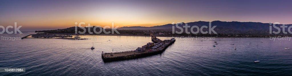 Santa Barbara Pier and Marina at Sunset - Aerial Panorama stock photo