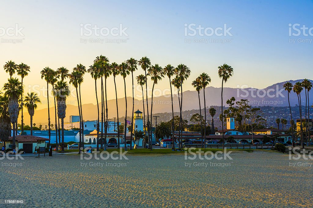 Santa Barbara promenade with the lighthouse over mountains stock photo