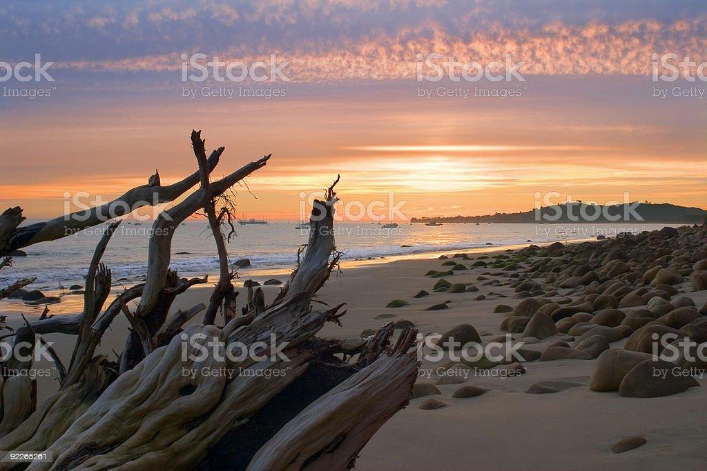 Santa Barbara Sunset at Butterfly Beach stock photo
