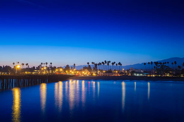 Santa Barbara View A long exposure of Santa Barbara Pier at night santa barbara california stock pictures, royalty-free photos & images