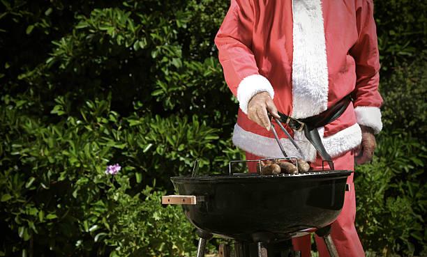 Santa bbq stock photo