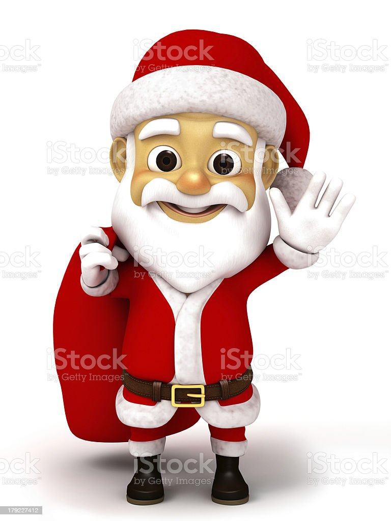 Santa caluse with huge sack of gifts royalty-free stock photo