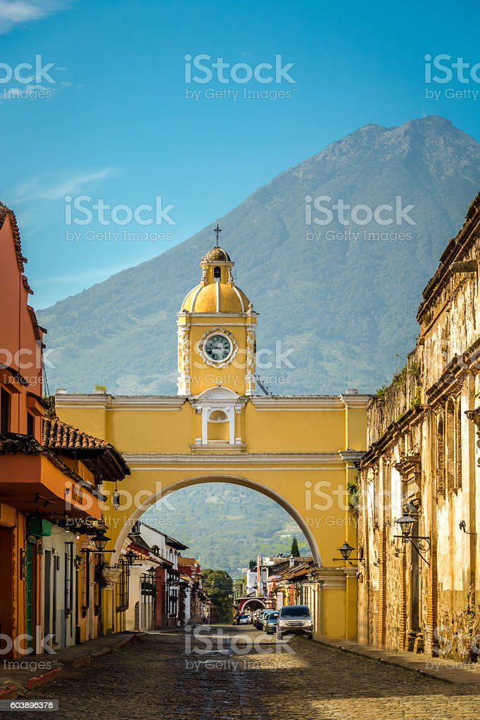 Santa Catalina Arch and Agua Volcano - Antigua, Guatemala stock photo