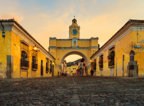 low camera position for shot of the Arch of Santa Catalina in Antigua, Guatemala - one of the icons of this town.