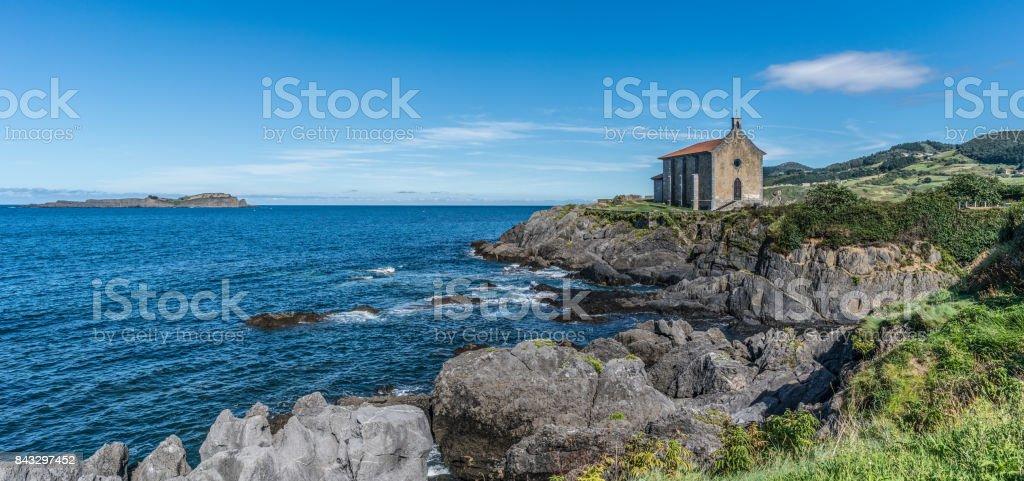 Santa Catalina hermitage in Mundaka stock photo