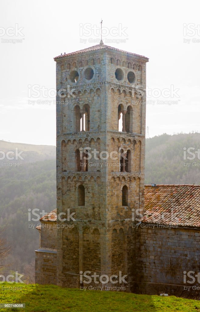 Santa Cecilia de Mollo tower - Pyrenees stock photo