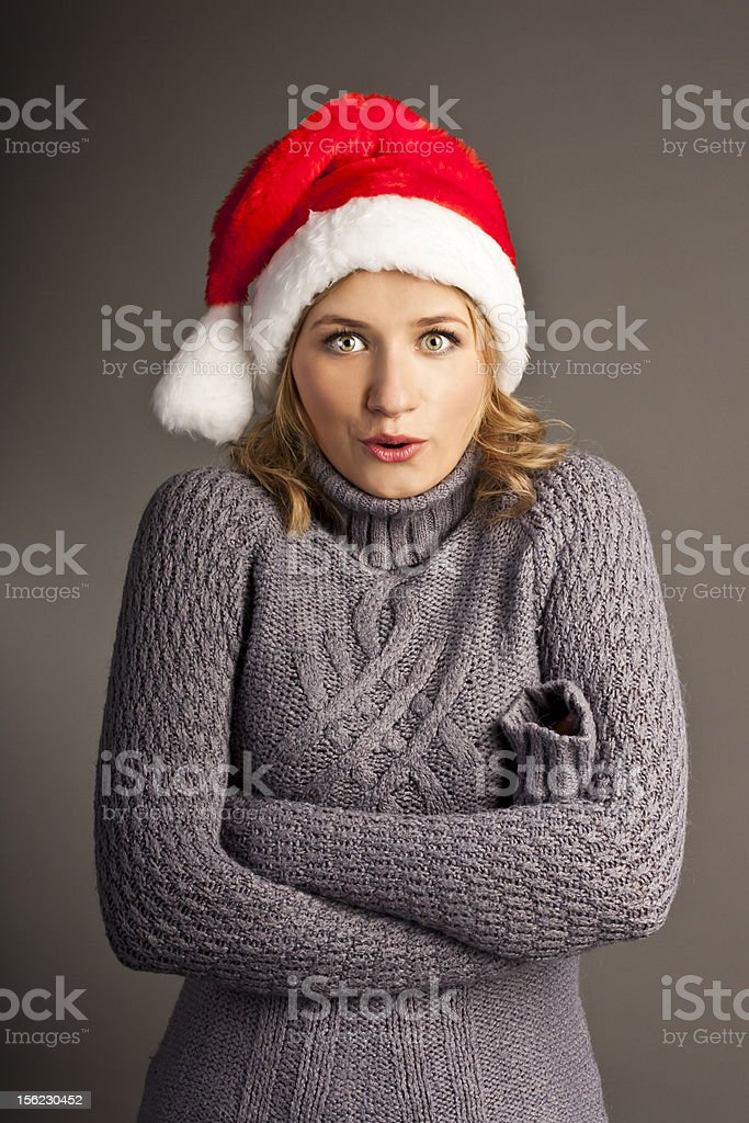 Santa christmas woman in sweater isolated royalty-free stock photo