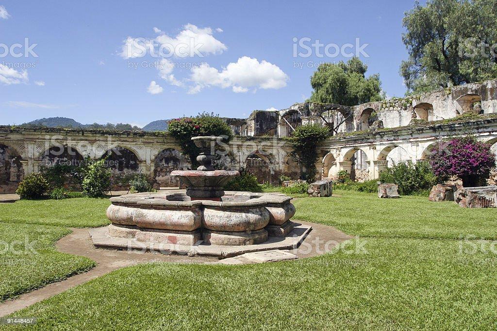 Santa Clara Convent Fountain Antigua,Guatemala stock photo